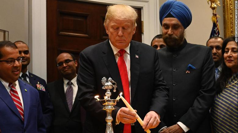 PRESIDENT TRUMP LIGHTS THE DIYA  CELEBRATING DIWALI AT THE WHITE HOUSE